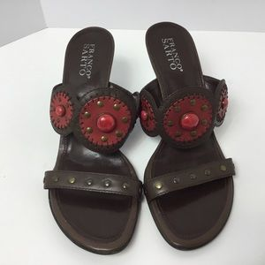 Women's shoes wedged sandals leather 9.5 red gems